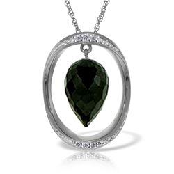 Genuine 12.35 ctw Black Spinel & Diamond Necklace 14KT White Gold