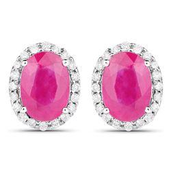 2.06 ctw Ruby & White Diamond Earrings 14K White Gold
