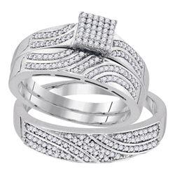 0.41 CTW Diamond Square Matching Bridal Wedding Ring 10kt White Gold