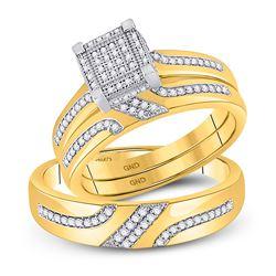 0.33 CTW Diamond Square Matching Bridal Wedding Ring 10kt Yellow Gold