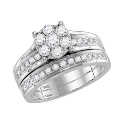 1 CTW Diamond Cluster Bridal Wedding Engagement Ring 14kt White Gold