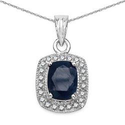 2.14 ctw Sapphire Blue & Diamond Pendant 14K White Gold