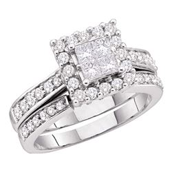 0.50 CTW Diamond Halo Bridal Wedding Engagement Ring 14kt White Gold