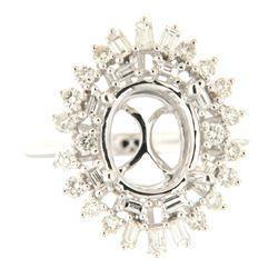 0.94 CTW Diamond Semi Mount Ring 14K White Gold