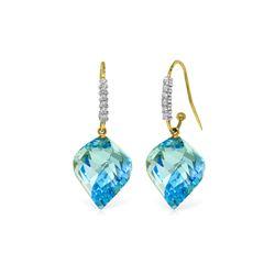 Genuine 27.98 ctw Blue Topaz & Diamond Earrings 14KT Yellow Gold