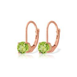 Genuine 1.20 ctw Peridot Earrings 14KT Rose Gold