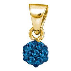 0.10 CTW Blue Color Enhanced Diamond Hexagon Cluster Cluster Pendant 10kt Yellow Gold