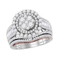 2.45 CTW Diamond Bridal Wedding Engagement Ring 14kt Two-tone Gold
