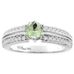 1.10 CTW Amethyst & Diamond Ring 14K White Gold