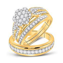 1.35 CTW Diamond Cluster Matching Bridal Wedding Ring 10kt Yellow Gold