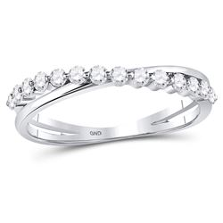 0.36 CTW Diamond Crossover Stackable Ring 10kt White Gold