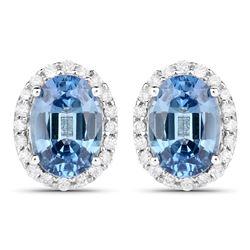 2.16 ctw Sapphire Blue & Diamond Earrings 14K White Gold