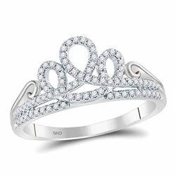 0.20 CTW Diamond Crown Tiara Fashion Ring 10kt White Gold