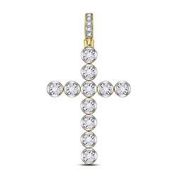 0.24 CTW Diamond Cross Charm Pendant 10kt Yellow Gold