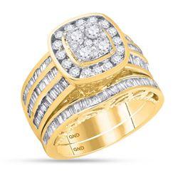 1.80 CTW Diamond Cluster Bridal Wedding Engagement Ring 14kt Yellow Gold