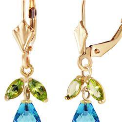 Genuine 3.4 ctw Blue Topaz & Peridot Earrings 14KT Yellow Gold