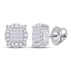 0.98 CTW Diamond Fashion Cluster Earrings 14kt White Gold