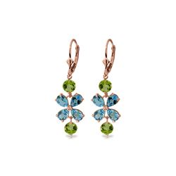 Genuine 5.32 ctw Blue Topaz & Peridot Earrings 14KT Rose Gold
