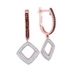 0.41 CTW Red Color Enhanced Diamond Square Dangle Hoop Earrings 10kt Rose Gold