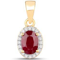 1.04 ctw Ruby & White Diamond Pendant 14K Yellow Gold