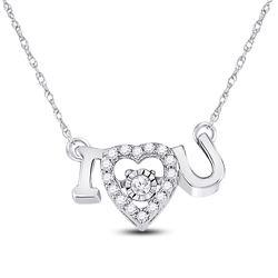 0.11 CTW Diamond I Love U Heart Pendant 14kt White Gold