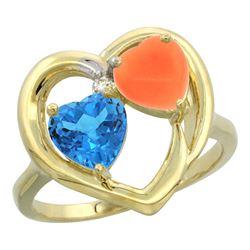 1.31 CTW Swiss Blue Topaz & Diamond Ring 14K Yellow Gold