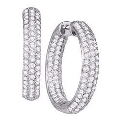 2.87 CTW Pave-set Diamond Inside Outside Hoop Earrings 14kt White Gold
