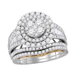 2.55 CTW Diamond Cluster Bridal Wedding Engagement Ring 14kt White Gold