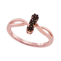 0.06 CTW Red Color Enhanced Diamond Ring 10kt Rose Gold