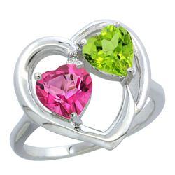 2.61 CTW Diamond, Pink Topaz & Citrine Ring 14K White Gold