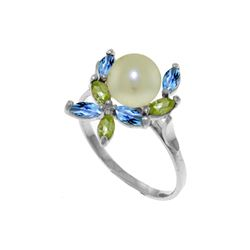 Genuine 2.63 ctw Blue Topaz & Peridot Ring 14KT White Gold