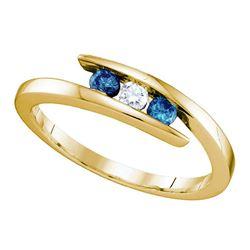 0.25 CTW Blue Color Enhanced Diamond 3-stone Ring 10kt Yellow Gold