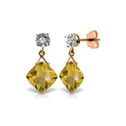 Genuine 17.56 ctw Citrine & Diamond Earrings 14KT Rose Gold