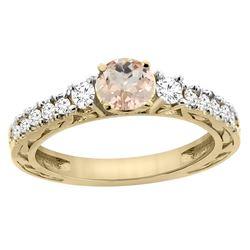 1.05 CTW Morganite & Diamond Ring 14K Yellow Gold