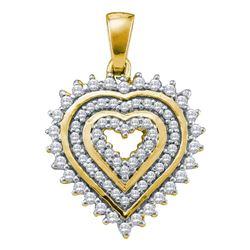 0.34 CTW Diamond Concentric Heart Pendant 10kt Yellow Gold