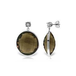 Genuine 34.06 ctw Smoky Quartz & Diamond Earrings 14KT White Gold