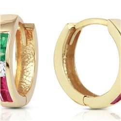 Genuine 1.28 ctw Emerald, White Topaz & Ruby Earrings 14KT Yellow Gold