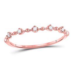 0.06 CTW Diamond Bead Dot Stackable Ring 10kt Rose Gold