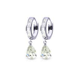 Genuine 4.2 ctw White Topaz Earrings 14KT White Gold