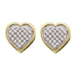 0.15 CTW Diamond Heart Cluster Earrings 10kt Yellow Gold