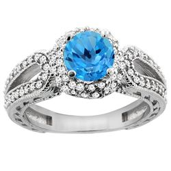 1.50 CTW Swiss Blue Topaz & Diamond Ring 14K White Gold