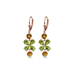 Genuine 5.32 ctw Peridot & Citrine Earrings 14KT Rose Gold