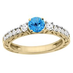 1.35 CTW Swiss Blue Topaz & Diamond Ring 14K Yellow Gold
