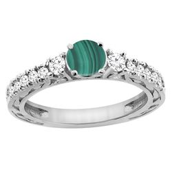 2.53 CTW Malachite & Diamond Ring 14K White Gold