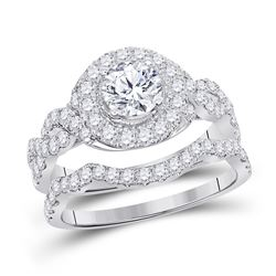 2 CTW Diamond Bridal Wedding Engagement Ring 14kt White Gold