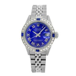 Rolex Pre-owned 26mm Womens Custom Blue with Tracker Stainless Steel