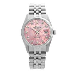 Rolex Pre-owned 36mm Mens Pink Flower Dial Stainless Steel