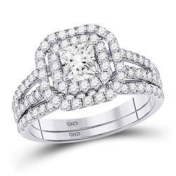 1.51 CTW Diamond Bridal Wedding Engagement Ring 14kt White Gold