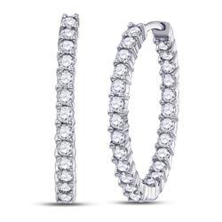 3 CTW Diamond Inside Outside Hoop Earrings 14kt White Gold