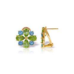 Genuine 4.85 ctw Blue Topaz & Peridot Earrings 14KT Yellow Gold